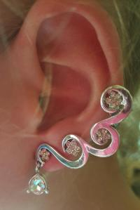 Earrings - Silver CLEAR WHITE Rhinestones Cartilage ...