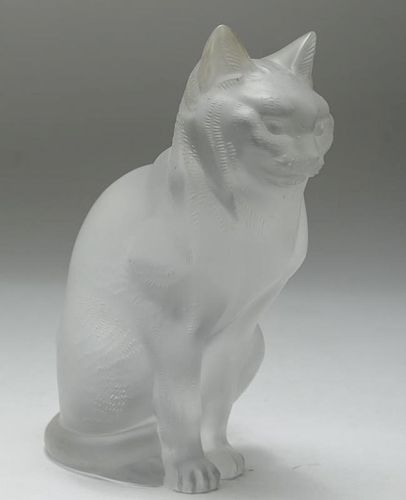lalique france crystal cat
