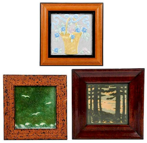 three pottery framed arts crafts tiles sold at auction on 15th september bidsquare