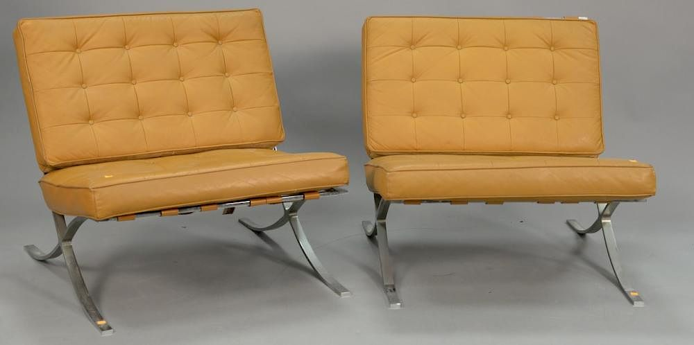 barcelona chair leather bliss covers and unique wedding decorations pair of chairs with seats tagged industria argentina one missing button wd 31 in by nadeau 39 s auction gallery 436740