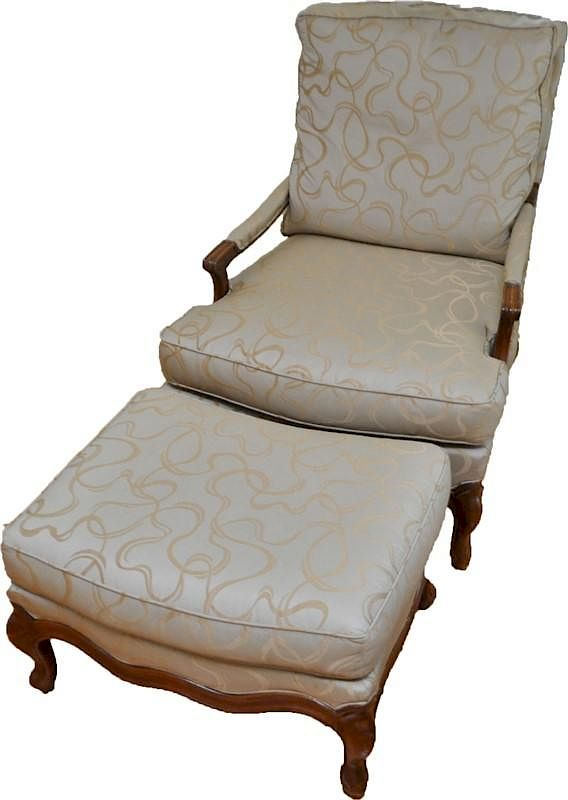 hickory chair louis xvi fisher price musical pink bergere lounge w ottoman by charleston estate auctions bidsquare