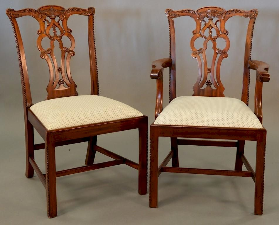 maitland smith dining chairs chair cover rentals bay area set of eight chippendale style two arm and six side with clean upholstered seats by nadeau 39 s auction gallery 706546