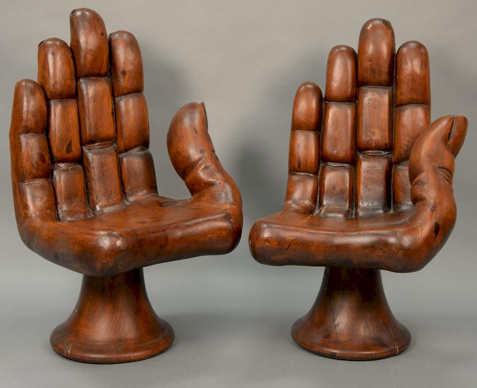 wood hand chair kids office chairs style of pedro friedeberg pair carved mexico 1960 solid pine height 40 1 4 inches seat he