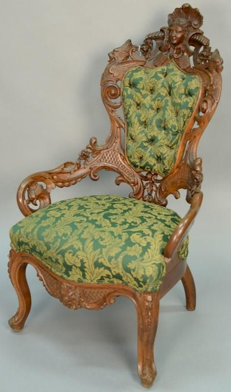 gentlemans chair american rocking styles victorian oak with pierced carved back and arms mounted ladies face flanked by winged figures bird s h nadeau 39 auction