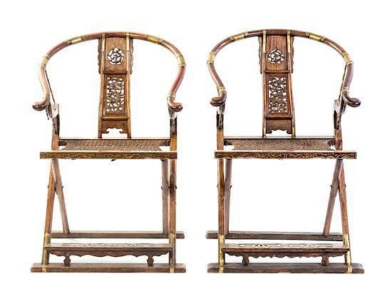 24 inch high folding chairs home theater sam s club a pair of huanghuali height 41 3 4 x width 27 1 2 depth inches by leslie hindman auctioneers 30973 bidsquare