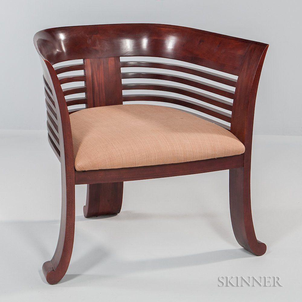 art deco style club chairs oak chair rail barrel back by skinner 1090869 bidsquare