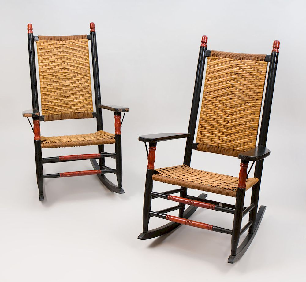 troutman rocking chairs universal chair covers wholesale pair of classic painted and caned side by stair 1121011 bidsquare