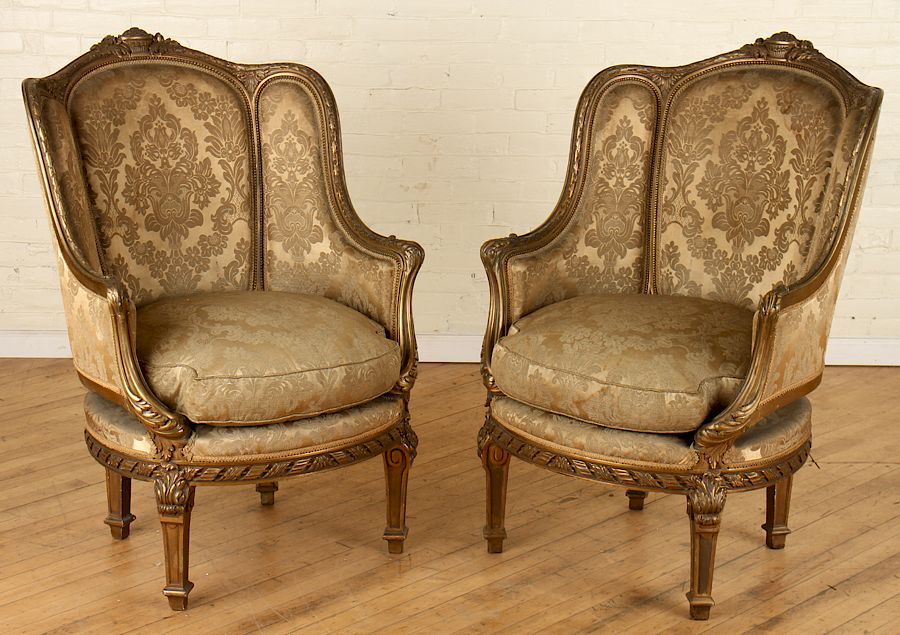 french bergere chair swivel dining pair louis xvi gilt wood chairs by kamelot auction house 1195577 bidsquare