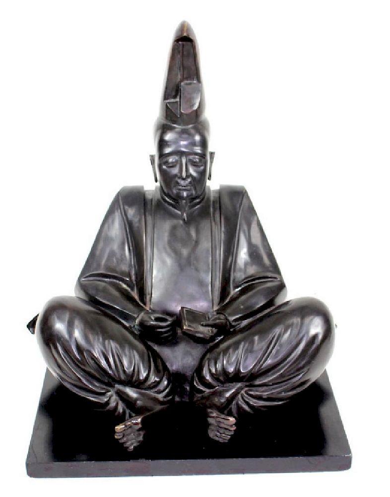 Japanese Bronze Shogun Figure. Unsigned.