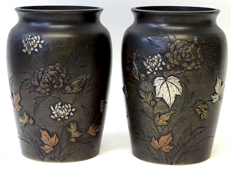 A Pair of Japanese Bronze Flower Vases