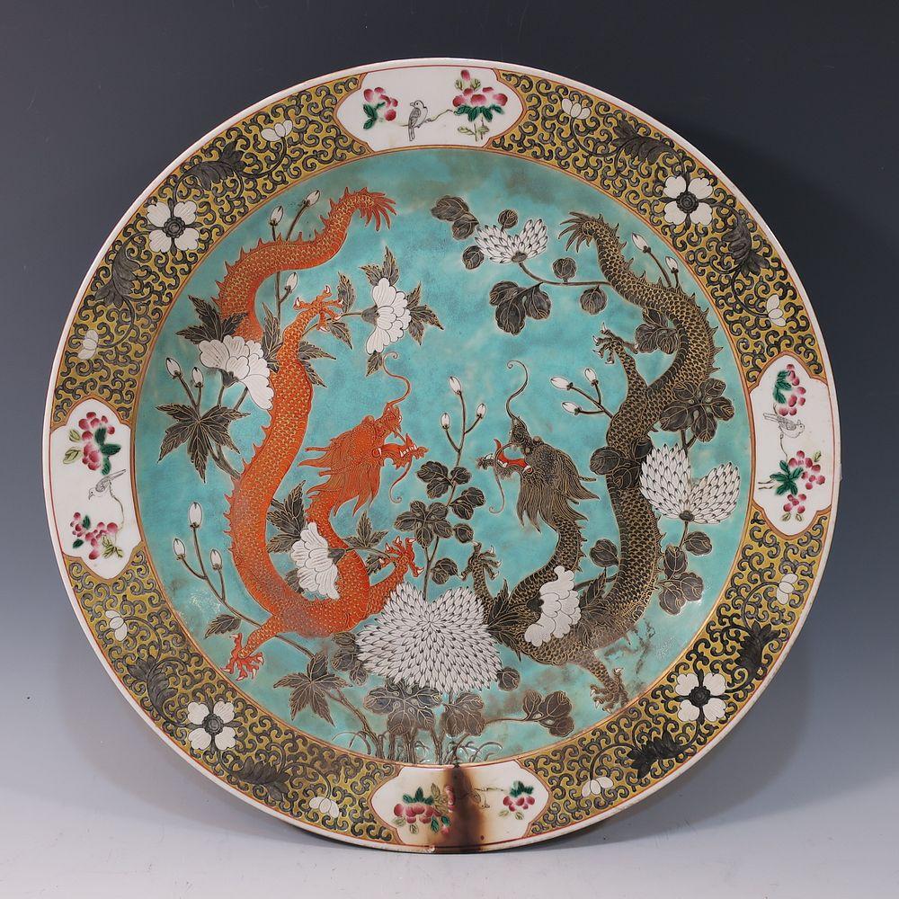 CHINESE ANTIQUE FAMILLE ROSE DRAGON CHARGER - 19TH CENTURY