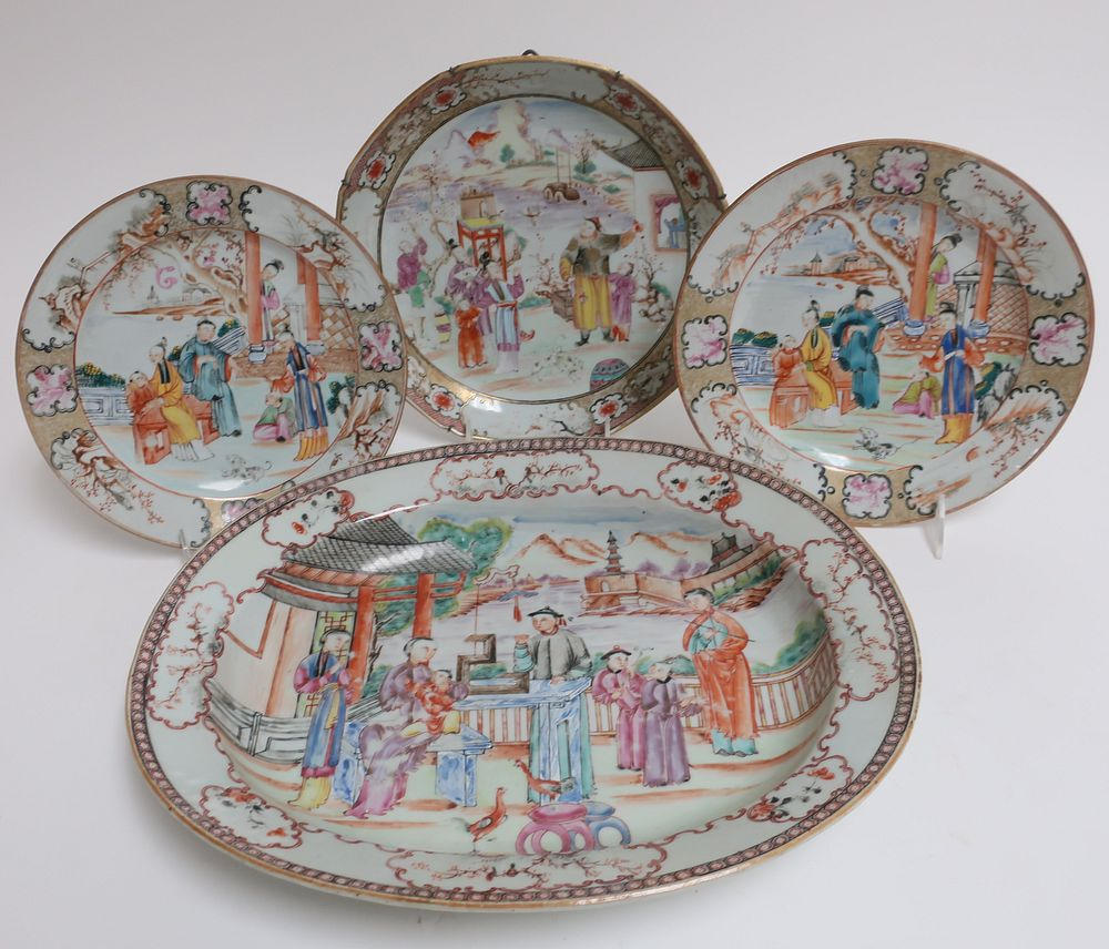 4 Chinese Export Famille Rose Plates, 18th C.