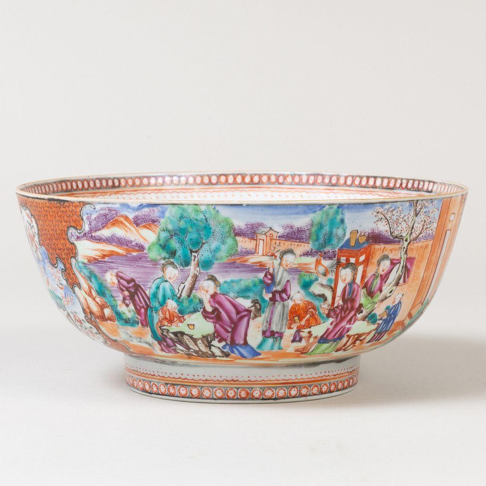 Chinese Export Porcelain Mandarin Palette Punch Bowl