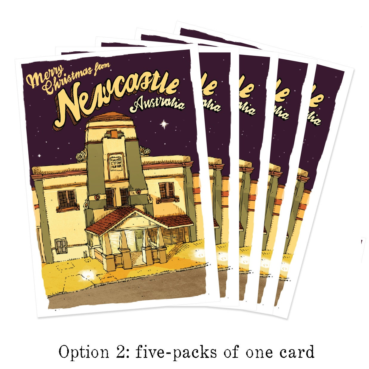 Newcastle Productions Five Pack Of Newcastle Christmas Cards