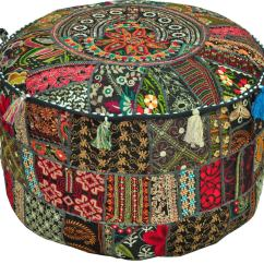 Christmas Chair Covers Big W Cane Suppliers In Mumbai Jaipurhandloom  Bohemian Patchwork Vintage Indian Pouf