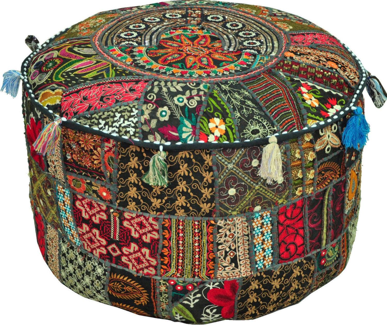 indian chair covers wooden lawn plans jaipurhandloom  bohemian patchwork vintage pouf