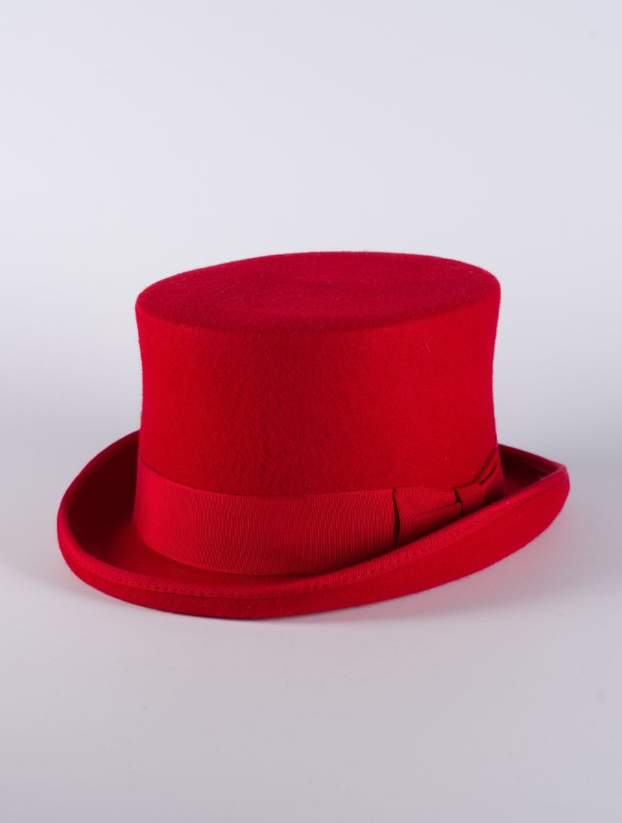 Red Top Hat Bespoke Designer Headwear Feathered Fantasy