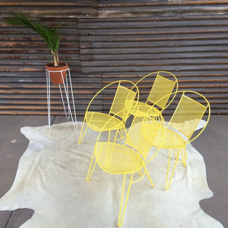 Vintage Outdoor Chair Yellow Alfie And Audrey