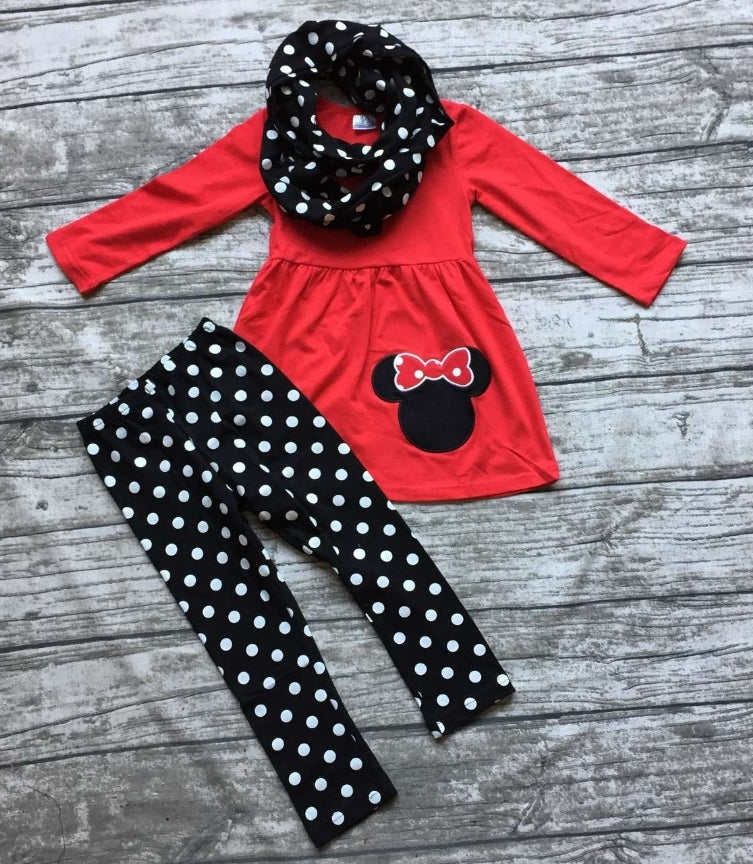 Infantile Minnie Mouse Inspired Three Piece Outfit With