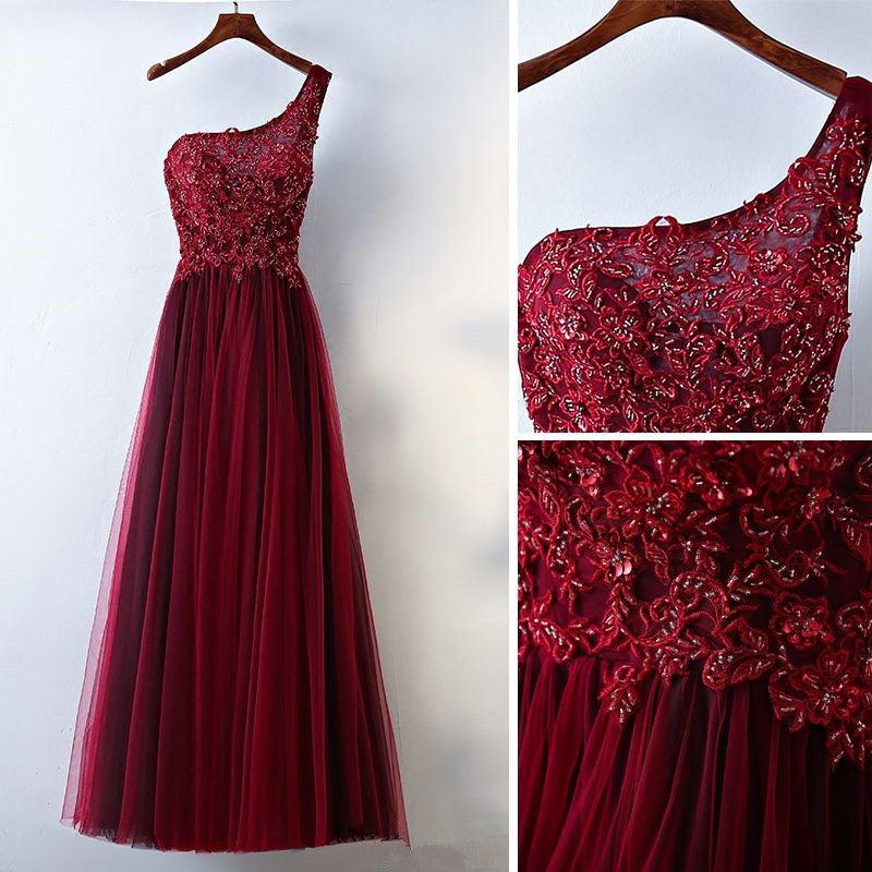 Gorgeous Dark Wine Red Shoulder Prom Dresses 2018