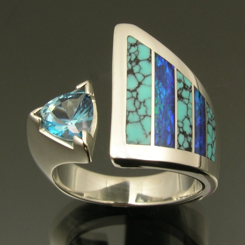Hileman Silver Jewelry  Unique sterling silver Amethyst ring with inlaid Australian opal and