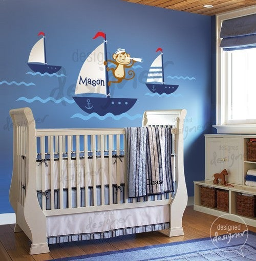 Cut Baby Girl Wallpaper New Design Sailor Monkey On Sailing Boat Nautical