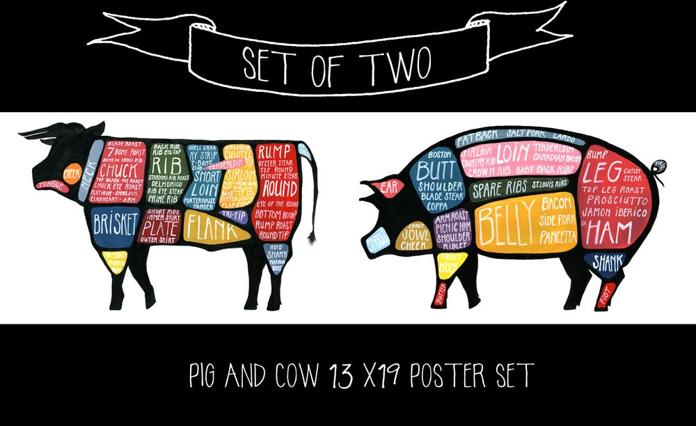 beef cow cut diagram bmw planet release set of two - pig and butchery diagrams | drywell art