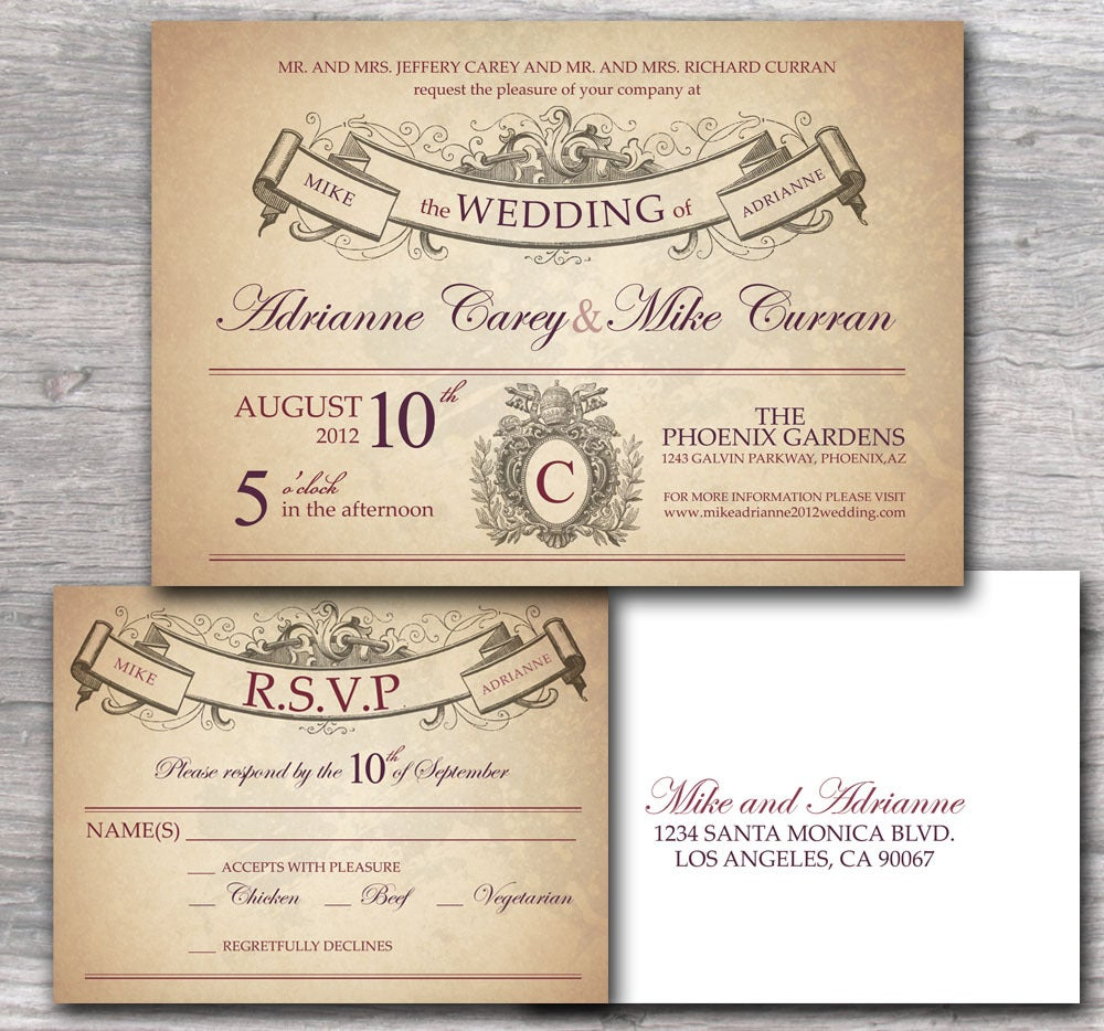 Ornate Wedding Invitation With Rustic French Style Sample