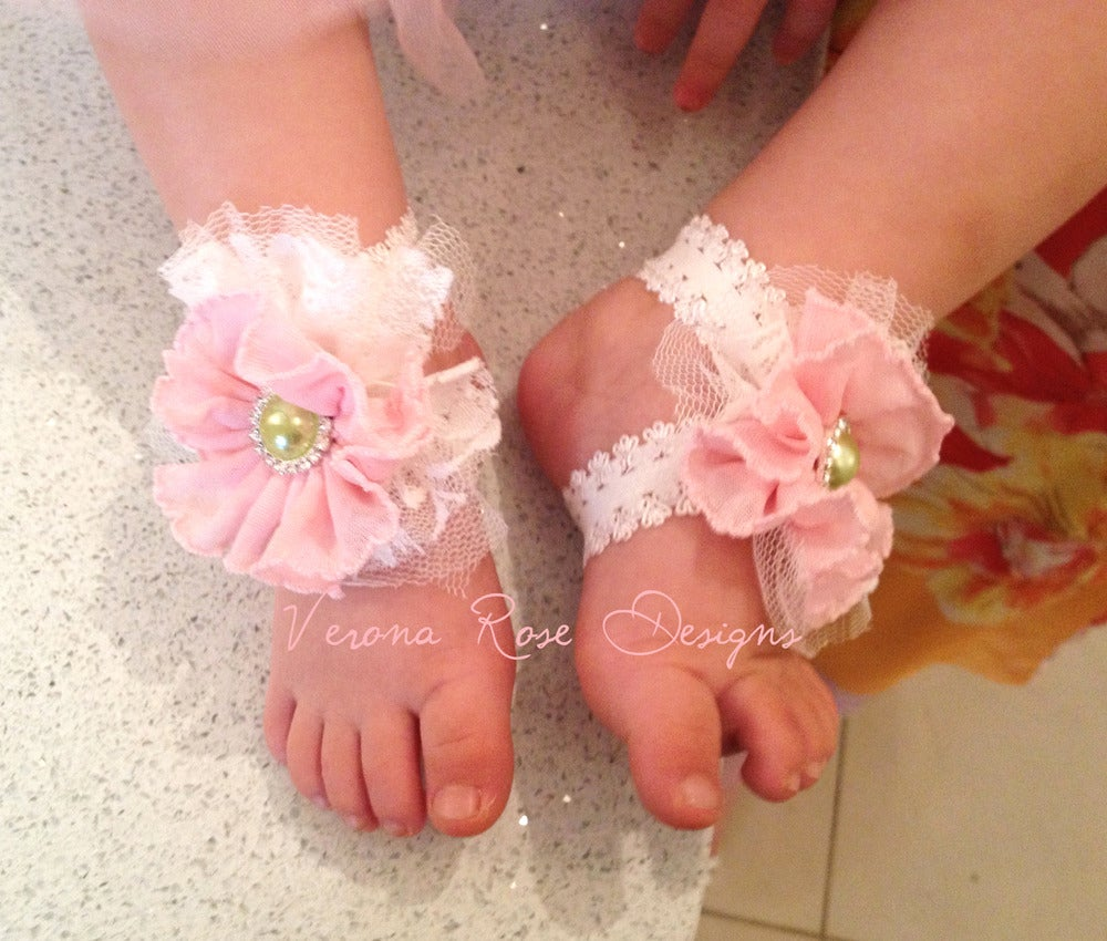 Footbling - Barefoot Baby Sandals Custom Verona Rose