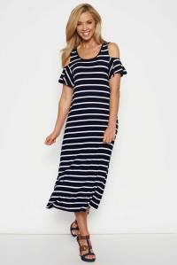 NEW Threadz Womens Calf Length Dresses Cold Shoulder Dress ...