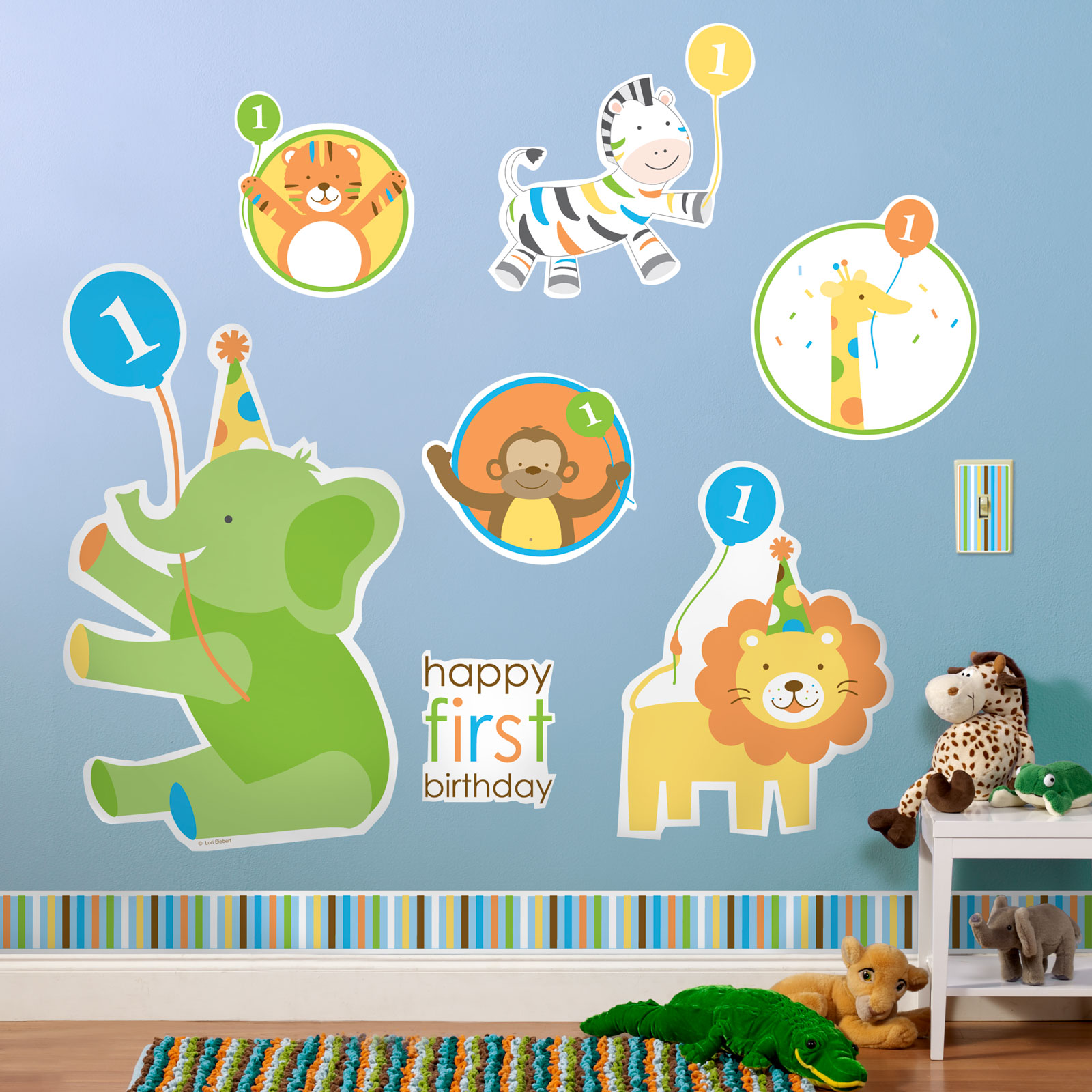 Sweet Safari Blue 1st Birthday Giant Wall Decals