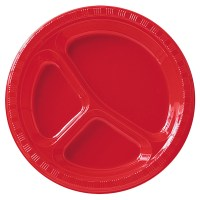 Classic Red (Red) Plastic Divided Dinner Plates ...