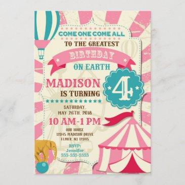 circus birthday invitations