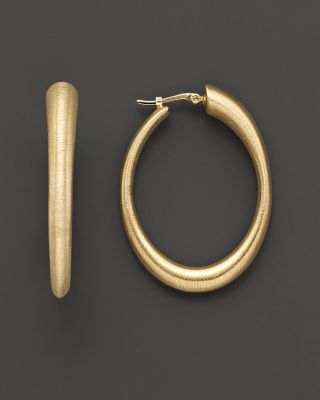 14k Gold Large Oval Matte Hoop Earrings With Satin Finish Bloomingdale'