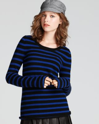 Aqua Cashmere Long Sleeve Striped Crewneck Sweater