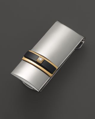 Dolan Bullock Sterling Silver And 14k Gold Polished Money Clip With Onyx Diamond
