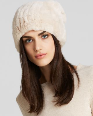 Surell Rabbit Fur Knit Slouchy Hat - Bloomingdale'