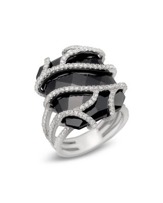 Diamond And Black Onyx Ring In 14K White Gold 120 Ct T