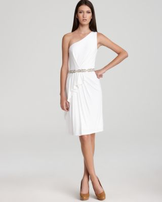 David Meister Shoulder Dress - Embellished Waist