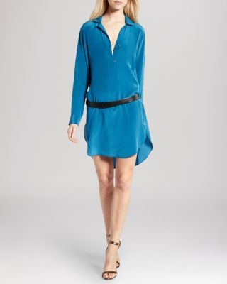 Halston Heritage Dress - Belted Split Silk Shirt