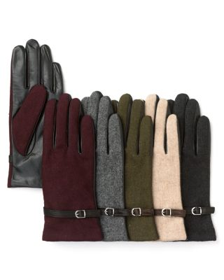 Grandoe Wool Front Leather Palm Gloves With Belt