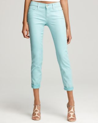 7 For All Mankind Jeans - Crop Skinny Jeans in Turquoise