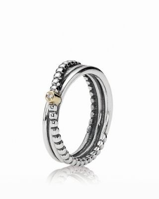PANDORA Ring  Diamond 14K Gold  Sterling Silver Rising Star 001 ct tw  Bloomingdales