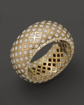 Gucci 18K Yellow Gold Diamantissima Ring With White Enamel  Bloomingdales