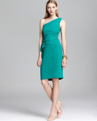 David Meister Shoulder Dress - Side Ruffle