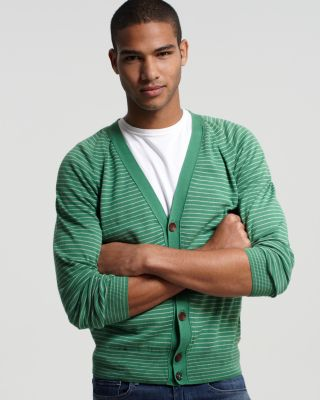 Paul Smith Jeans Green Stripe Cardigan
