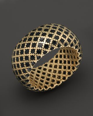 Gucci 18K Yellow Gold Diamantissima Ring With Black Enamel  Bloomingdales