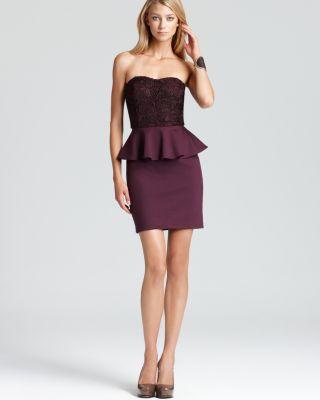 Aqua Peplum Dress - Heavy Lace Strapless Bloomingdale'