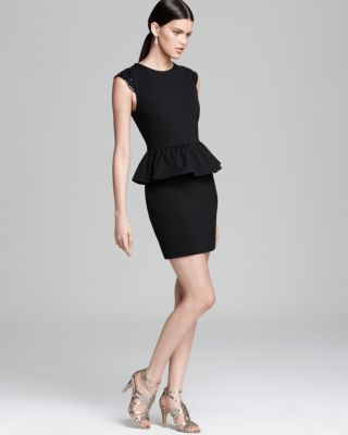 Aqua Dress - Ponte Sequin Shoulder Peplum Bloomingdale'