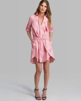 Halston Heritage Dress - Belted Overlay Detail Shirt